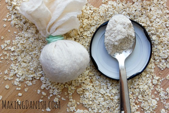 Oats in cheesecloth and ground for oat bath