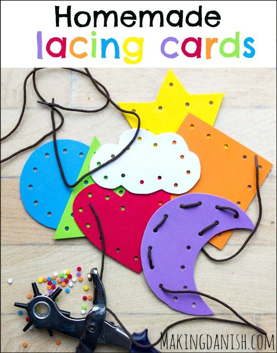 diy homemade lacing cards from foam sheets