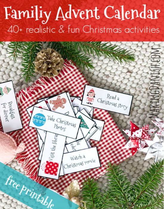 Family advent calendar – 40+ realistic and fun ideas for Christmas activities (free printable)