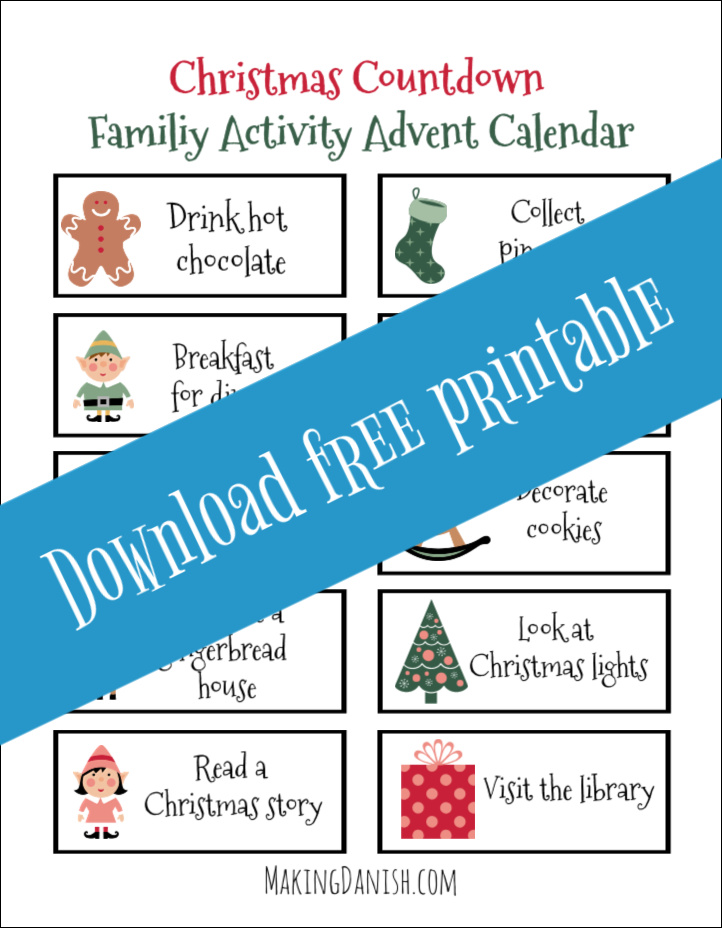 Christmas countdown family activities printable download