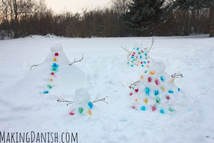 snowman with coloured ice cubes