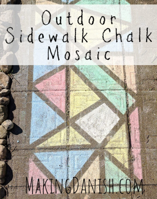 Outdoor sidewalk chalk mosaic