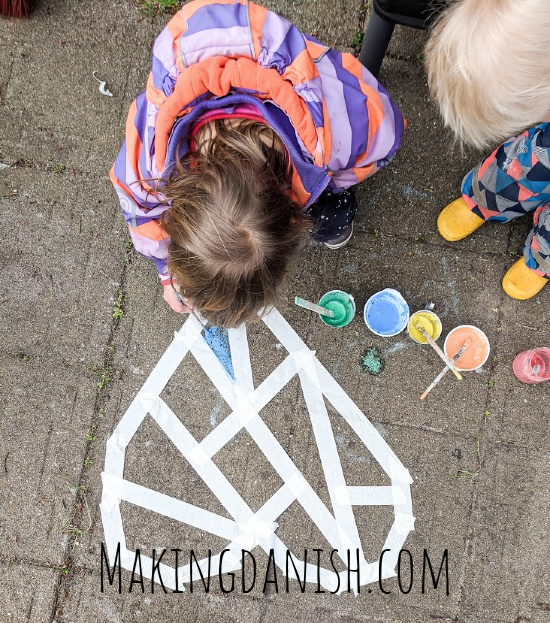 sidewalk chalk paint painters tape mosaic
