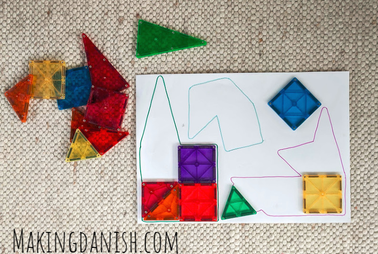 Tangram puzzle match with magnetic tiles