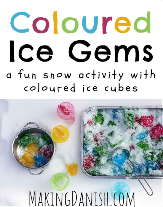 Coloured ice gems – a fun snow activity with coloured ice cubes